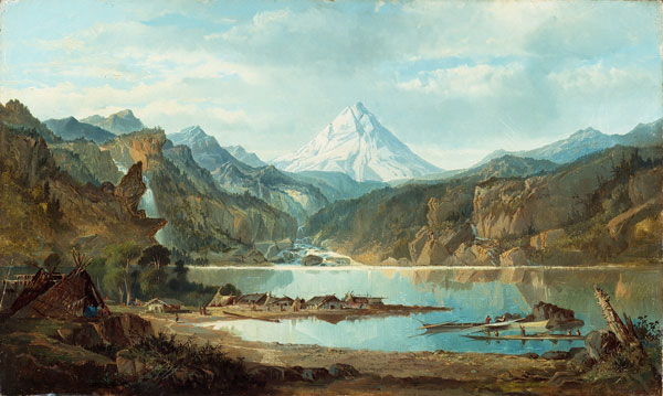 "Painting by John Mix Stanley, ""Mountain Landscape with Indians,"" ca. 1847-1853, Detroit Institute of Arts.  Our sole depiction of a traditional Chinookan village.  Mt. Hood in the background; somewhere in the Columbia River Gorge."